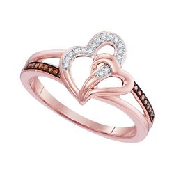 0.10 CTW Red Color Diamond Joined Heartss Ring 10KT Rose Gold - REF-19M4H