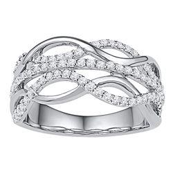 0.60 CTW Diamond Woven Strand Ring 10KT White Gold - REF-59M9H