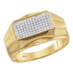 0.25 CTW Mens Diamond Rectangle Cluster Ribbed Edge Ring 10KT Yellow Gold - REF-41W9K