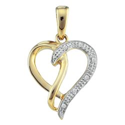 0.03 CTW Diamond Woven Heart Pendant 10KT Two-tone Gold - REF-10N5F