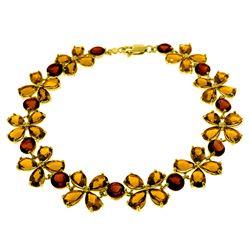 Genuine 20.7 ctw Citrine & Garnet Bracelet Jewelry 14KT Yellow Gold - REF-142V9W