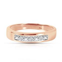 Genuine 0.02 ctw Diamond Anniversary Ring Jewelry 14KT Rose Gold - REF-46R2P