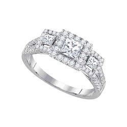 1 CTW Princess Diamond 3-stone Bridal Engagement Ring 14k White Gold - REF-134Y9X