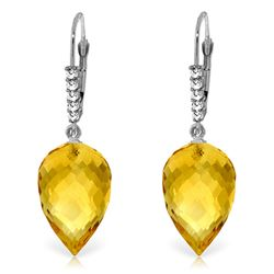 Genuine 19.15 ctw Citrine & Diamond Earrings Jewelry 14KT White Gold - REF-49F2Z
