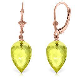 Genuine 18 ctw Quartz Lemon Earrings Jewelry 14KT Rose Gold - REF-30K3V