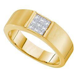 0.50 CTW Princess Diamond Mens Anniversary Ring 14k Yellow Gold - REF-75K2W