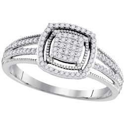 0.20 CTW Diamond Square Cluster Ring 10KT White Gold - REF-22M4H