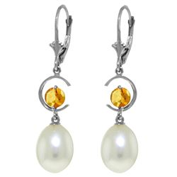 Genuine 9 ctw Pearl & Citrine Earrings Jewelry 14KT White Gold - REF-36P3H
