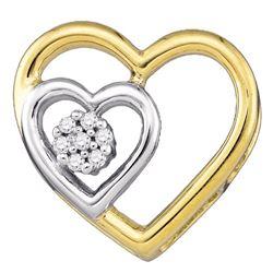 0.03 CTW Diamond Heart Love Pendant 10KT Yellow Gold - REF-7N4F