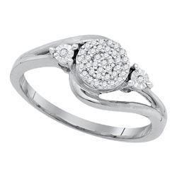 0.10 CTW Diamond Cluster Ring 10KT White Gold - REF-14N9F