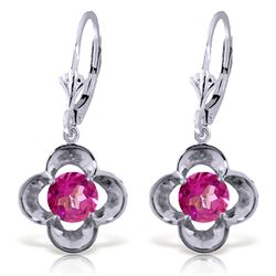 Genuine 1.10 ctw Pink Topaz Earrings Jewelry 14KT White Gold - REF-38V2W