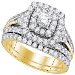 1.88 CTW Diamond Certified Double Halo Bridal Ring 14KT Yellow Gold - REF-172X4Y