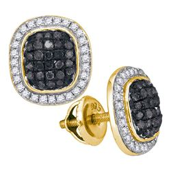 0.55 CTW Black Color Diamond Square Cluster Earrings 10KT Yellow Gold - REF-32W9K