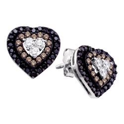 0.50 CTW Cognac-brown Black Color Diamond Heart Earrings 14KT White Gold - REF-40Y4X