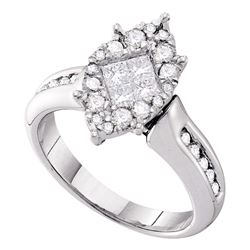 1.01 CTW Princess Diamond Soleil Cluster Bridal Engagement Ring 14KT White Gold - REF-119Y9X