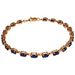 Genuine 8 ctw Sapphire Bracelet Jewelry 14KT Rose Gold - REF-119M7T