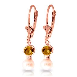 Genuine 5.2 ctw Citrine & Pearl Earrings Jewelry 14KT Rose Gold - REF-35R9P