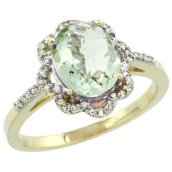 Natural 1.85 ctw Green-amethyst & Diamond Engagement Ring 14K Yellow Gold - REF-38Z6Y