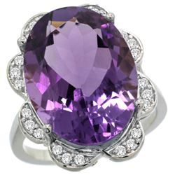Natural 13.83 ctw amethyst & Diamond Engagement Ring 14K White Gold - REF-124G4M