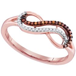 0.10 CTW Red Color Diamond Infinity Ring 10KT Rose Gold - REF-14X9Y