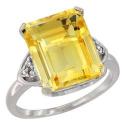 Natural 5.44 ctw citrine & Diamond Engagement Ring 14K White Gold - REF-45R5Z