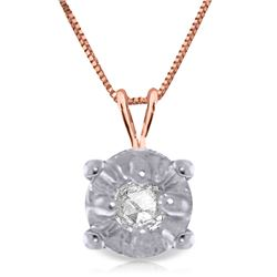 Genuine 0.03 ctw Diamond Anniversary Necklace Jewelry 14KT Rose Gold - REF-22A7K