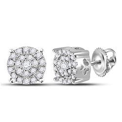 0.18 CTW Diamond Cluster Earrings 10KT White Gold - REF-14N9F
