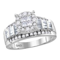 0.99 CTW Princess Diamond Soleil Cluster Bridal Engagement Ring 10KT White Gold - REF-82W4K