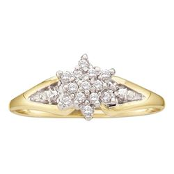 0.10 CTW Diamond Star Cluster Ring 10KT Yellow Gold - REF-10W5K