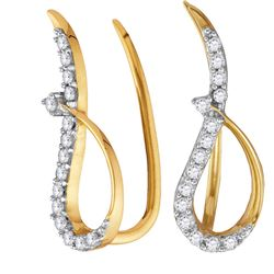 0.18 CTW Diamond Climber Earrings 10KT Yellow Gold - REF-12K8W