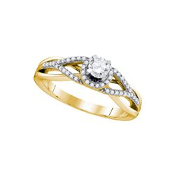 0.41 CTW Diamond Bridal Wedding Engagement Anniversary Ring 10KT Yellow Gold - REF-57K2W