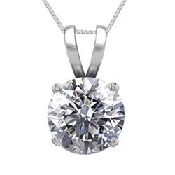 14K White Gold Jewelry 0.75 ct Natural Diamond Solitaire Necklace - REF#195K6Y-WJ13285