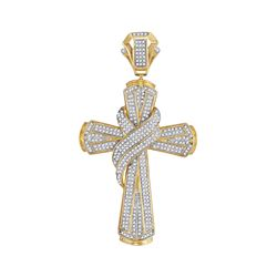 1.17 CTW Mens Diamond Bound Cross Charm Pendant 10KT Yellow Gold - REF-138N2F