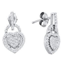 0.33 CTW Diamond Heart Dangle Earrings 10KT White Gold - REF-30K2W