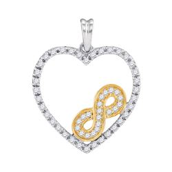 0.25 CTW Diamond Nested Infinity Heart Pendant 10KT Two-tone Gold - REF-22M4H