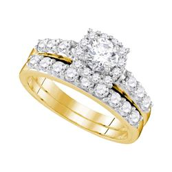 1.5 CTW Diamond Halo Bridal Engagement Ring 14k Yellow Gold - REF-224F9N
