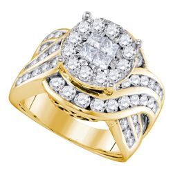 2.51 CTW Princess Diamond Soleil Cluster Bridal Engagement Ring 14KT Yellow Gold - REF-285H2M