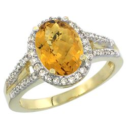 Natural 2.72 ctw whisky-quartz & Diamond Engagement Ring 14K Yellow Gold - REF-53G2M