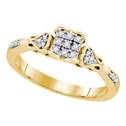 0.15 CTW Diamond Square Cluster Bridal Engagement Ring 10KT Yellow Gold - REF-19W4K
