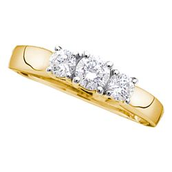 0.27 CTW Diamond 3-stone Bridal Engagement Ring 14KT Yellow Gold - REF-27W7K