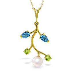Genuine 2.7 ctw Blue Topaz, Peridot & Pearl Necklace Jewelry 14KT Yellow Gold - REF-29T7A