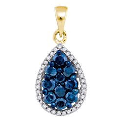 0.81 CTW Blue Color Diamond Teardrop Cluster Pendant 10KT Yellow Gold - REF-32Y9X