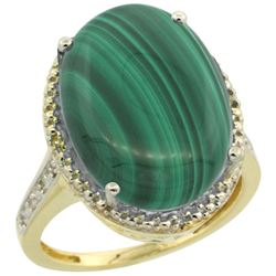 Natural 14.04 ctw Malachite & Diamond Engagement Ring 14K Yellow Gold - REF-58V9F
