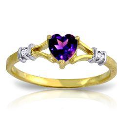 Genuine 0.47 ctw Amethyst & Diamond Ring Jewelry 14KT Yellow Gold - REF-27Z2N