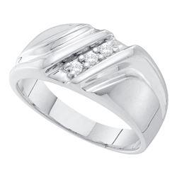 0.10 CTW Mens Diamond Wedding Anniversary Ring 10KT White Gold - REF-22W4K