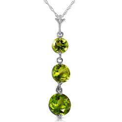 Genuine 3.6 ctw Peridot Necklace Jewelry 14KT White Gold - REF-24R4P