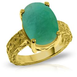 Genuine 6.5 ctw Emerald Ring Jewelry 14KT Yellow Gold - REF-175P3H