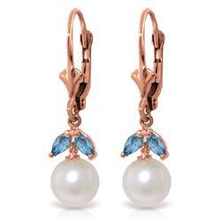 Genuine 4.4 ctw Blue Topaz Earrings Jewelry 14KT Rose Gold - REF-25K3V