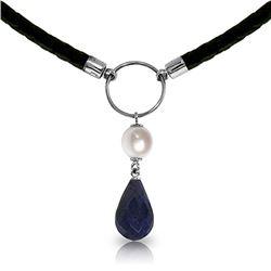 Genuine 10.80 ctw Sapphire & Pearl Necklace Jewelry 14KT White Gold - REF-64F4Z