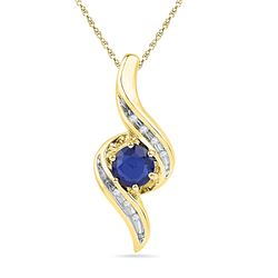 0.77 CTW Created Blue Sapphire Solitaire Diamond Pendant 10KT Yellow Gold - REF-13X4Y